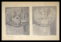 Two drawings of sculpture on the stupa rail at Bodhgaya (Bihar), made by Kittoe during his investigation of the site. January 1847. 21